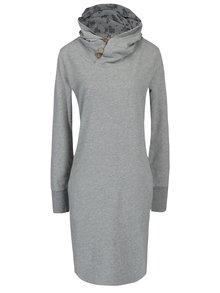 Šedé žíhané mikinové šaty s vysokým límcem Ragwear Carla Organic