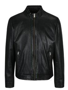 Černá pánská kožená bunda s kapsami KARA