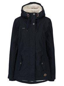 Geaca bleumarin de iarna cu gluga pentru femei - Ragwear Monade  Stripes