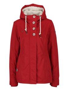 Červená dámská bunda s kapucí a knoflíky Ragwear Lynx
