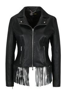 Černá dámská kožená bunda s třásněmi KARA Galice