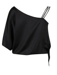 Černé lesklé asymetrické tričko s mašlí Dorothy Perkins Petite