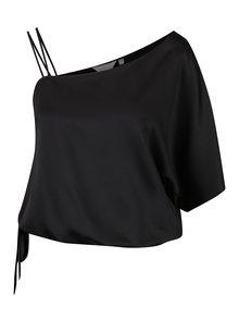 Bluza asimetrica neagra cu umar expus si maneca liliac Dorothy Perkins Petite