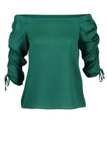 Bluza verde cu umeri expusi si maneci cu fonseuri  Dorothy Perkins Petite