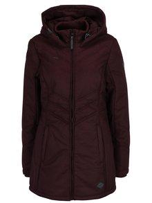 Vínová dámská zimní voděodolná bunda s kapucí a kapsami Ragwear Asha