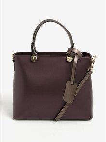 Vínová kožená dámská kabelka do ruky/crossbody kabelka KARA