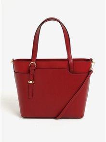 Červená dámská kožená kabelka do ruky/crossbody kabelka s hadím vzorem KARA