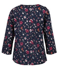 Bluza bleumarin cu print floral si volane frontale Dorothy Perkins