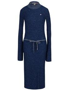 Modré žíhané svetrové šaty se zavazováním v pase Ragwear Provence