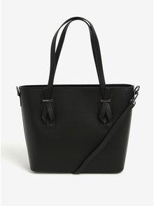 Černá dámská kožená kabelka do ruky/crossbody kabelka KARA