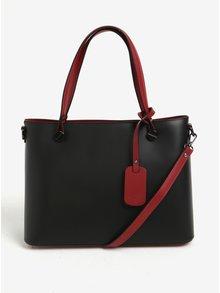 Červeno-černá dámská kožená kabelka do ruky/crossbody kabelka KARA
