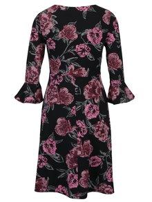 Čierne kvetované šaty so zvonovými rukávmi Dorothy Perkins Petite