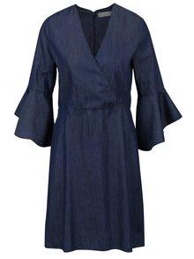 Modré džínové šaty s překládaným topem a zvonovými rukávy Dorothy Perkins