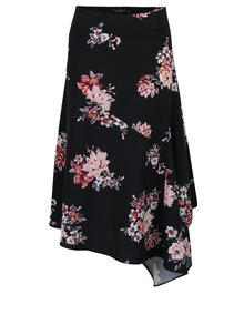 Fusta neagra asimetrica cu print floral - Dorothy Perkins