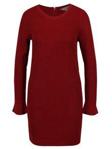Červené svetrové šaty s dlhým rukávom Dorothy Perkinse Petite