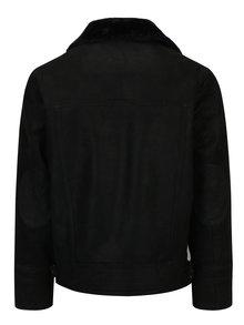 Jacheta neagra aviator din piele naturala pentru barbati KARA Drew