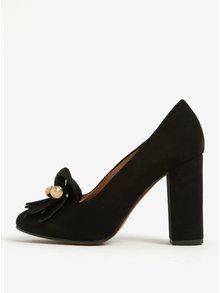 Černé kožené lodičky na podpatku s třásněmi Selected Femme Mel