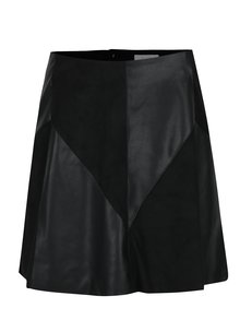 Čierna sukňa s koženkovými detailmi VILA Sonia