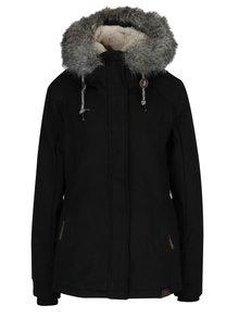 Čierna dámska zimná bunda s umelým kožúškom Ragwear Winny