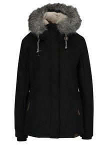 Geaca neagra cu gluga si blana artificiala de iarna pentru femei - Ragwear Winny