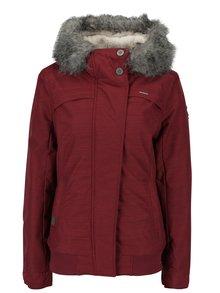 Vínová dámska zimná vodovzdorná bunda s umelým kožúškom Ragwear Wooki