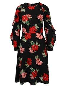 Čierne kvetované šaty s volánmi na rukávoch AX Paris