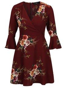 Vínové kvetované šaty s 3/4 zvonovým rukávom AX Paris