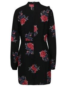 Čierne kvetované šaty s dlhým rukávom AX Paris