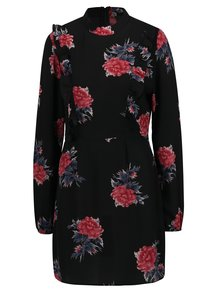 Rochie neagra cu print floral si volane AX Paris