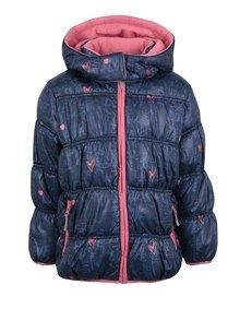 Tmavomodrá dievčenská zimná prešívaná bunda s kapucňou Blue Seven