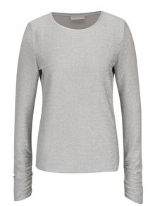 Třpytivé tričko ve stříbrné barvě s dlouhým rukávem VILA Clima