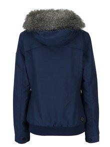 Modrá dámska zimná vodovzdorná bunda s umelým kožúškom Ragwear Wooki