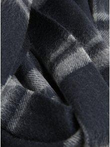 Tmavosivý vlnený vzorovaný šál Selected Homme Tope