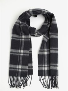 Fular din lana cu carouri gri & crem si franjuri - Selected Homme Tope