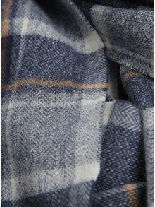 Tmavomodrý vlnený vzorovaný šál Selected Homme Tope