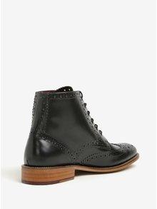Čierne kožené členkové brogue topánky London Brogues Gatsby High