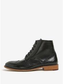 Čierne pánske kožené členkové brogue topánky London Brogues Gatsby High