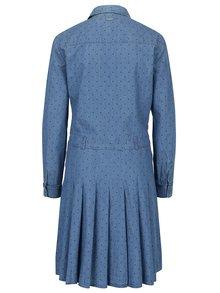 Modré bodkované rifľové košeľové šaty Pepe Jeans Tasia