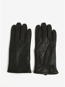 Černé kožené rukavice Selected Homme Morten
