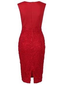 Červené puzdrové šaty s čipkou AX Paris