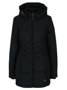 Čierna dámska zimná vodoodolná bunda s kapucňou a vreckami Ragwear Asha