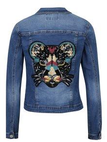 Jacheta albastra din denim cu broderie si paiete pe spate Haily's Enna
