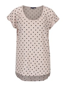 Světle růžové dámské lněné puntíkované tričko Pepe Jeans Michelle