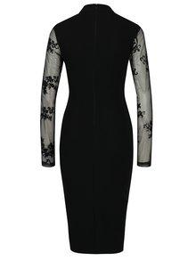 Čierne puzdrové šaty s prestrihom v dekolte a priesvitným rukávom AX Paris