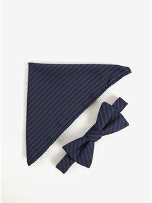 Súprava motýlika a vreckovky v modrej farbe Selected Homme Xavier
