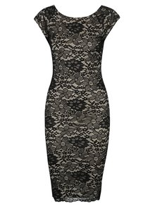 Béžovo-černé krajkové pouzdrové šaty s výstřihem na zádech AX Paris