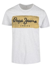 Světle šedé pánské tričko s potiskem Pepe Jeans Charing
