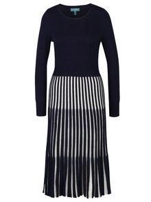 Tmavomodré šaty s pruhovanou sukňou Fever London Lewes