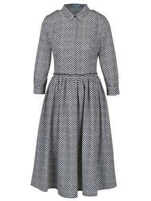Rochie camasa cu print geometric si pliuri Fever London Margot