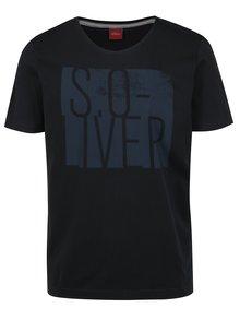 Tricou negru slim fit cu print pentru barbati s.Oliver